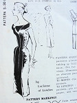 1950s  LACHASSE OFF SHOULDERS SLIM COCKTAIL PARTY DRESS PATTERN STUNNING STYLE SPADEA INTERNATIONAL DESIGNERS PATTERNS 301