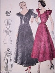 1940s BEAUTIFUL COCKTAIL EVENING DRESS PATTERN FLATTERING BERTHA COLLAR, BACK INTEREST BUTTERICK QUICK n EASY PATTERNS 4781