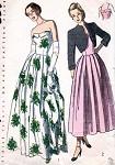 1940s BEAUTIFUL EVENING DRESS, BOLERO PATTERN CUFFED STRAPLESS BODICE, SOFTLY PLEATED, SHORTIE JACKET SIMPLICITY PATTERNS 2442