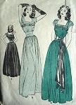 1940s LOVELY EVENING DRESS PATTERN FITTED MIDRIFF, LOW SQ NECKLINE, BILLOWY DIRNDL SKIRT BUTTERICK PATTERNS 3963
