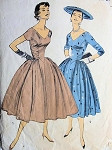 1950s DREAMY EVENING DRESS PATTERN V NECKLINES, RUCHED BODICE SIDES, VERY FULL SKIRTED ADVANCE 7956
