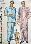 1950s Gentlemens Pajamas Pattern Long Trousers or Shorts 3 Classic Style Versions Simplicity 2051