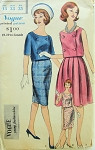 1960s Mad Men 2 Pc Dress Pattern Vogue Young Fashionables 5266  Slim or Pleated Skirt Double Breasted Top Bust 33 Vintage Sewing Pattern UNCUT