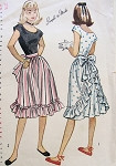 1940s Pretty Dress Pattern Simplicity 1927 Scoop Neckline Bodice, Simulated Ruffled Apron Skirt Flirty Style Bust 34