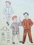 1950s Sweet Little Boys Suit Pattern Butterick 7302 Elastic Back Waist, Suspenders Long or Short Pants Size 4