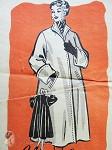 1950s Beautiful Full Flare Back Coat Pattern Deep Cuffs Stunning Design Anne Adams 4509