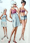 1960s James Bond Girl Style 2 Pc Bathsuit and Beach Cover Up Pattern Empire Waist Beach Shift Dress Belted Swimsuit Simplicity 6545 Bust 32