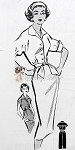 1950s  Slim Shirt Dress Pattern Classic Style, Sleeveless or Short Sleeves