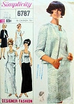 1960s  Classy Evening Jacket,Overblouse and Skirt Pattern Cocktail or Formal Length Simplicity Designer Fashion 6787 Bust 36