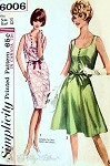 1960s Pretty Blouson Bodice Dress Pattern Slim or Flippy Skirted Suitable For Lace, Eyelet and Sheer Fabrics Simplicity 6006 Bust 32