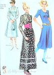 1970s  Midi Dress or Maxi  Granny Dress Pattern 3 Romantic Vintage Styles Simplicity 9265 FF Bust 38