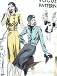 1940s 2 PC Dress Pattern Vogue 5243 Wind Breaker Style Blouse, Inverted Center Pleat Slightly Flared Skirt Bust 32