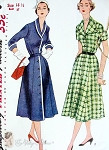 1950s Classic Front Button Dress Pattern Shawl  or Wide Collar Versatile Design Simplicity 3797  Bust 37 UNCUT