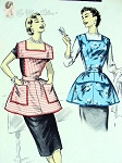 Vintage 1950s Apron Sewing Pattern Bib Top Slip On Aprons Wide Square Collar Bust 34-36 Advance 8163