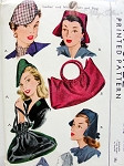 1940s Flirty Hats and Bags Pattern McCall 1148 Vintage Sewing Pattern 2 Hat Styles 2 Purse Styles War Time WW II Era