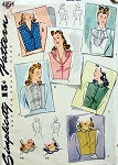 1940s War Time WW II Dickey and Collars Pattern Perfect For Suits 6 Dickey Styles, 2 Collars Simplicity 4154 Vintage Sewing Pattern Medium Size