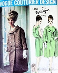 1960s Galitzine of Italy Evening Dress and Coat Pattern Slim Cocktail Dress Back Panel, Double Breasted Coat Vogue Couturier Design 1438 Vintage Sewing Pattern Size Bust 32 UNCUT Factory Folded