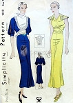 1930s Art Deco Striking Design Dress Pattern 2 Unique Styles Split Sleeves or Sleeveless Simplicity 1380 NRA Vintage Sewing Pattern Bust 34