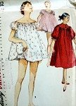 1950s PinUp Baby Doll  Shortie  Night Gown With Panties and Nightgown Pattern  Puff Sleeves Adorable Styles Simplicity 1102 Vintage Sewing Pattern Bust 32