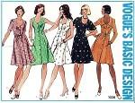 1970s  Front Button Dress Pattern Princess Seamed U Shape Neckline Flippy Skirt Style 5 Versions Vogue Basic Design 1028 Vintage Sewing Pattern UNCUT Bust 31.5