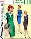 1960s Jiffy Jumper Easy To Sew Pattern Slim V Neckline Jumper Dress Simplicity 5580 Vintage Sewing Pattern UNCUT Bust 30