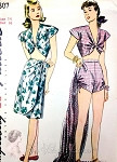 1940s Beachwear Swimsuit Playsuit and Sarong Wrap Skirt Pattern Midriff Front Tie Top, High Waist Shorts Gathered Sides, Slim Skirt  Simplicity 1307 Vintage Sewing Pattern Bust 32