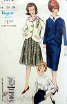 1960s Suit and Blouse Pattern  Cutaway Front Jacket, Slim Skirt or Pleated Skirt,, Button Back Tuck In Blouse Vogue Special Design 5678 Vintage Sewing Pattern Bust 34