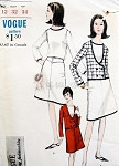 1960s Mod 3 PC Suit Pattern Slightly A Line Skirt, Double Breasted Jacket Deep Scoop Neckline, Tuck In Blouse  Vogue 6618 Young Fashionables Vintage Sewing Pattern Bust 32