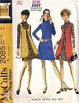 Mod 60s  Dress Pattern Casual Mock Turtleneck DRESS with Lined Scoop Neck Vest McCall 2085 Vintage Sewing Pattern UNCUT Bust 34
