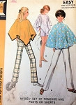 1960s Mod Ponchos Cape Slim Pants and Shorts Pattern McCalls 9782 Vintage Sewing Pattern UNCUT
