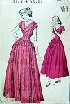 1940s Lovely Evening Formal Dress Pattern V Necklines Full Skirt 2 Lengths Advance 4822 Vintage Sewing Pattern Bust 34