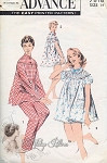 1950s Pin Up Style Baby Doll Shortie PJs Pattern Includes Top and Long Pants Pajamas Shortie Pyjamas Set Includes Bloomers Advance 7818 Vintage sewing pattern Factory Folded  Bust 32