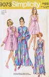 1970s Romantic Peignoir and Nightgown Lingerie Pattern Two Lengths Plunging V Neckline Robe  Has 2 Sleeve Styles Simplicity 9073 Vintage Sewing Pattern UNCUT Bust 32
