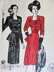 1940s Mesmerizing Cocktail Dinner Party Dress Pattern Flattering Low Cowl Neckline, Cascade Drapery Butterick 3996 Vintage Sewing Pattern Bust 32