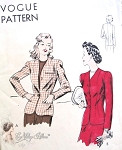 1940s Fitted Jacket Blazer Pattern Easy To Make Single Breasted Dart Fitted Jacket Classic Style Vogue 9512 Vintage sewing Pattern Bust 36