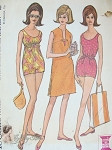 Vintage 60s Bathing Suit Swimsuit  Pattern Drawstring Empire or Regular Waist , Beach Cover Up 34 Bust McCalls 7306 Vintage Sewing Pattern