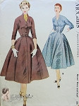 Vintage 1950's McCalls 3002 Sewing Pattern Elegant Day or Cocktail Dress with Scarf  Beautiful Style Bust 32