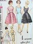 1960s Mad Men Era Cocktail Evening Dress Pattern Four Season After Five Wardrobe Slim or Full Skirts Scoop Necklines Simplicity 4491 Vintage Sewing Pattern Bust 34