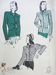 1940s Fabulous Tailored Fitted Jacket Blazer Pattern Butterick 3888 Vintage Sewing Pattern 2 Style Versions and Lengths Bust 32