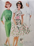 1960s Mad Men Era Slim or Full Skirt Dress Pattern Lovely Midriff Dress McCalls 5605 Vintage Sewing Pattern Bust 31.5