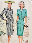 1940s WW II Era 2 Pc Suit Dress Pattern Classic 40s Fashion McCall 6102 Vintage Sewing Pattern  FACTORY FOLDED Bust 34