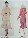 1970s Bill Blass 2 Pc Dress and Belt Pattern Front Button Blouson Top Flared Skirt Day or Evening Vogue American Designer 1992 Vintage Sewing Pattern Bust 36 UNCUT FACTORY FOLDED