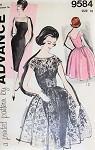 Stunning Cocktail Evening Sheath Dress and Over Dress Pattern 1960 Mad Men Era Bateau Neckline, Low  Back Slim or Full Skirted Advance 9584 Vintage Sewing Pattern Bust 34