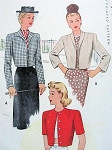 1940s Set of Cropped Jackets Boleros Pattern Three style Versions McCall 6458 Vintage Sewing Pattern  Bust 36