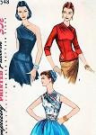 1950s Simplicity 1548 Vintage Sewing Pattern GORGEOUS EVENING One Shoulder Blouse, Daytime Surplice Overblouse and Cummerbund Stunning Designs Bust 32