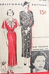 1930s Beautiful Art Deco Dress Pattern Sew Simple Frock, Cape or Raglan Sleeves Hollywood 854 Vintage Sewing Pattern Featuring Movie Star Kay Francis Bust 40