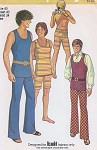 70s Retro Men's Hip Hugger Pants, Shorts and Tank Top American Hustle Style Simplicity 9385 Vintage Sewing Pattern Chest 42
