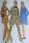 Mod 60s McCalls 2059 Vintage Sewing Pattern 60s Wardrobe Wrap Coat Trench, Jumper Tunic or Mini Dress, Pants Perfect Travel Wardrobe UNCUT Bust 36