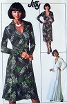 1970s DVF Wrap Dress Pattern Diane Von Furstenberg Style Wraparound Dress Famous Iconic Design American Hustle Simplicity 7705 Vintage Jiffy Sewing Pattern Bust 34