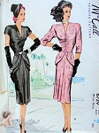 1940s Stunning Evening Cocktail Dress Pattern Low V Neckline, Shirred Bodice Shaped Single or Double Peplum Film Noir Style McCall 6729 Vintage Sewing Pattern Bust 32